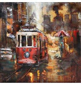 Eliassen 3D Gemälde Metall 100x100cm Straßenbahn