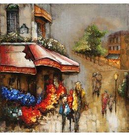 Eliassen Metaal schilderij Flowershop 80x80cm