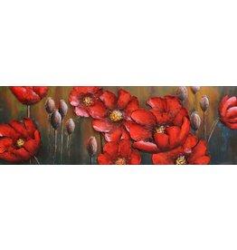 Metaal schilderij Rode bloemen 50x150cm