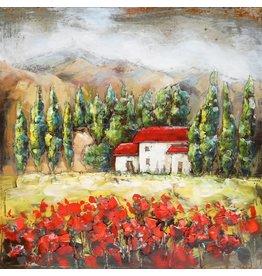 Metaal schilderij Dordogne 80x80cm