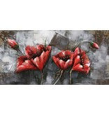 3D-Metall-Malerei Red Bloem1 120x60cm