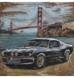 3D-Metall-Malerei Mustang2 100x100cm