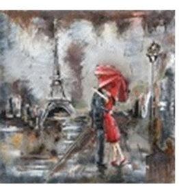 Metalen 3d schilderij Wet Paris 60x60cm
