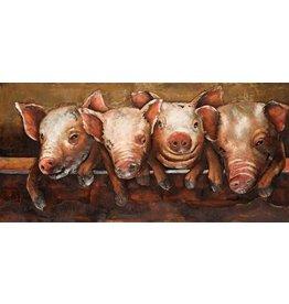 3D schilderij metaal 60x120cm Crazy Pigs