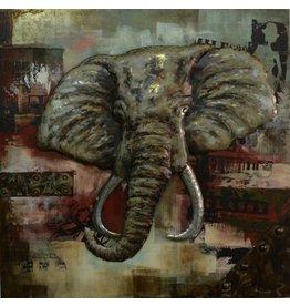 3|D schilderij olifant groot 100x100cm