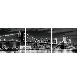 3 luik glasschilderij 180x60cm Stad bij nacht