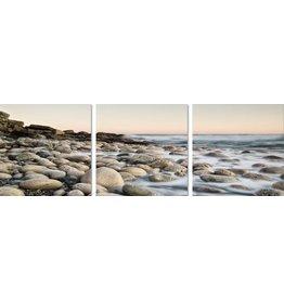 3 luik glasschilderij 180x60cm Keien