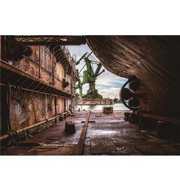 Fotop auf Glasmalerei 60x90cm Werft