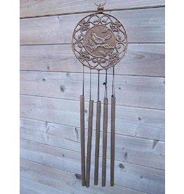 Bronze Windspiel mit Vogeldekoration