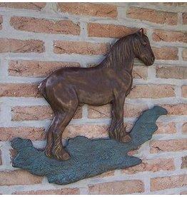 Muurdecoratie brons brabants trekpaard