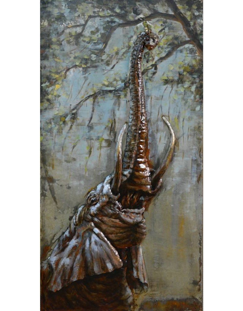 3d schilderij 70x140cm Olifant omhoog