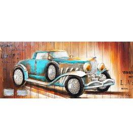 Eliassen 3D Gemälde Holz 60x155cm Auto blau