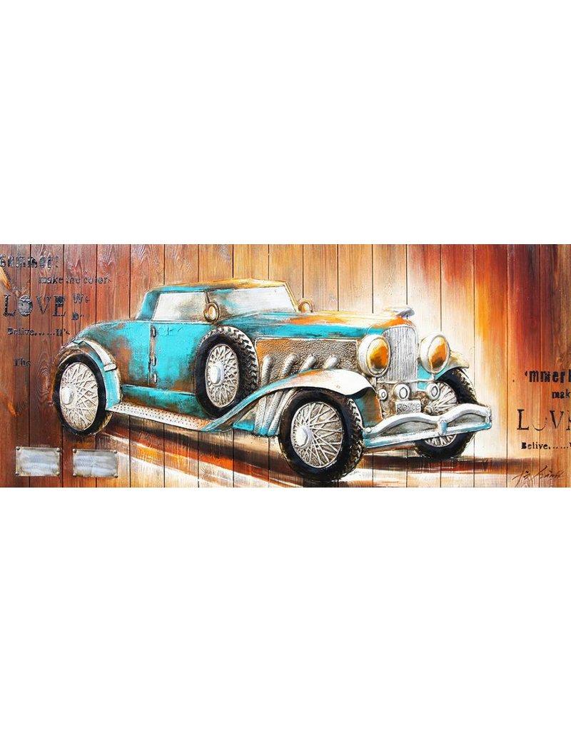 3d Malerei Holz 60x155cm blaues Auto