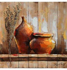 Eliassen 3D Gemälde Holz 64x64cm Topf und Vase