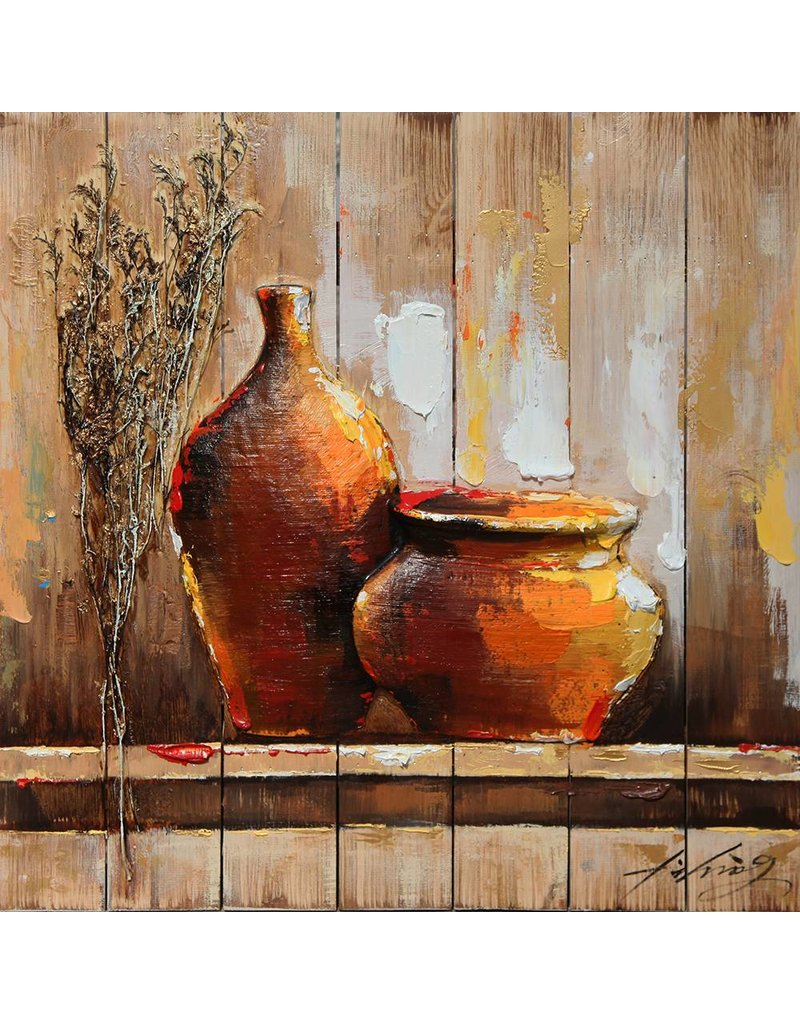 3D painting Holz 64x64cm Topf und Vase