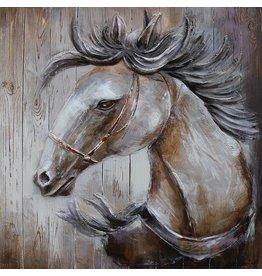 Schilderij 3d hout 91x91cm Paard naar links
