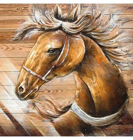 Schilderij 3d hout 91x91cm Pony