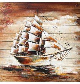 Schilderij hout 3d 91x91cm Sailer