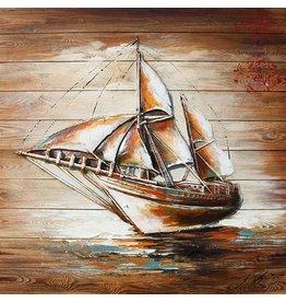 Schilderij hout 3d 91x91cm Sailer links