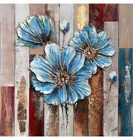 3d schilderij hout 82x82cm Bloem blauw