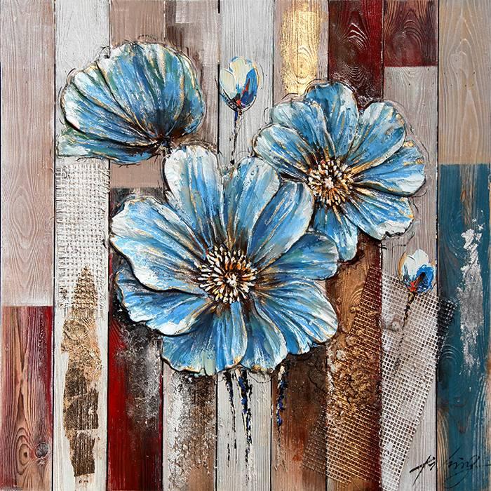 3d Painting Wood 82x82cm Flower Blue
