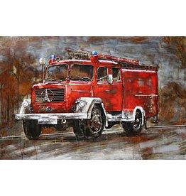 Schilderij 3d metaal 80x120cm Brandweer