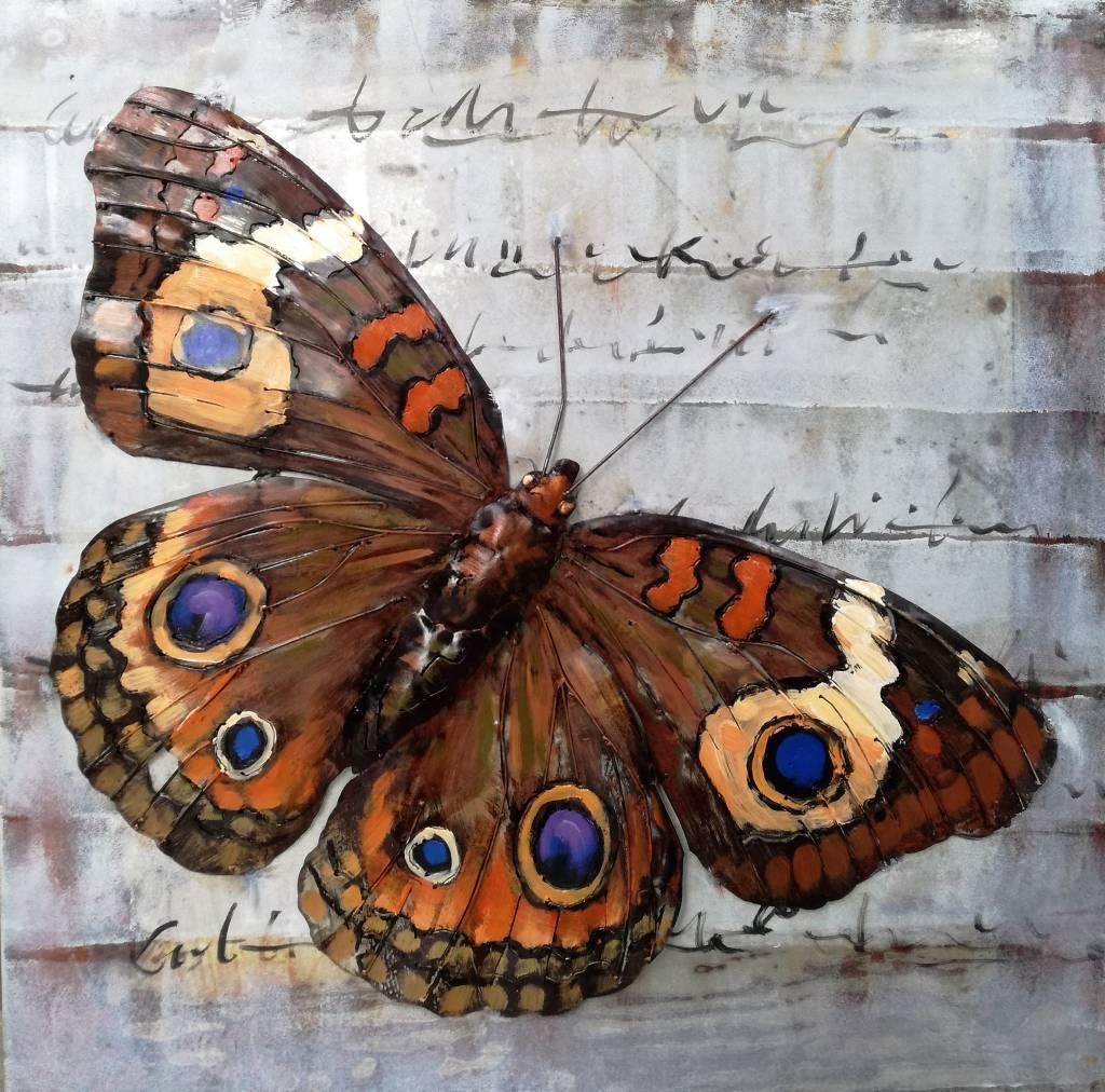 Schilderij metaal 3d 80x80cm vlinder eliassen home for Decoratie vlinders voor in de tuin