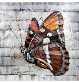 Eliassen 3d schilderij metaal 80x80cm Vlinder 1