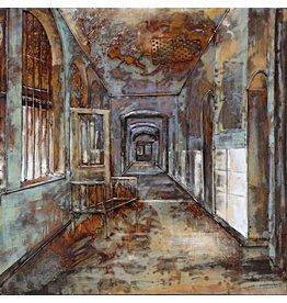 Schilderij ijzer 3D 100x100cm Klooster