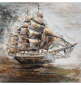 3D-Malerei Leinwand 80x80cm Segelboot
