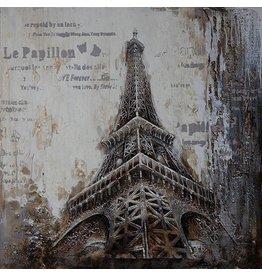 3D schilderij canvas 100x100cm Eiffel