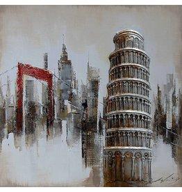 3D schilderij canvas 80x80cm Pisa