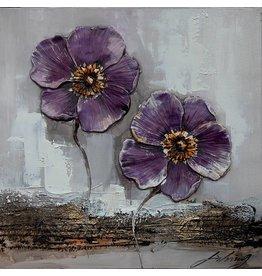 3D schilderij canvas 60x60cm Paarse bloemen