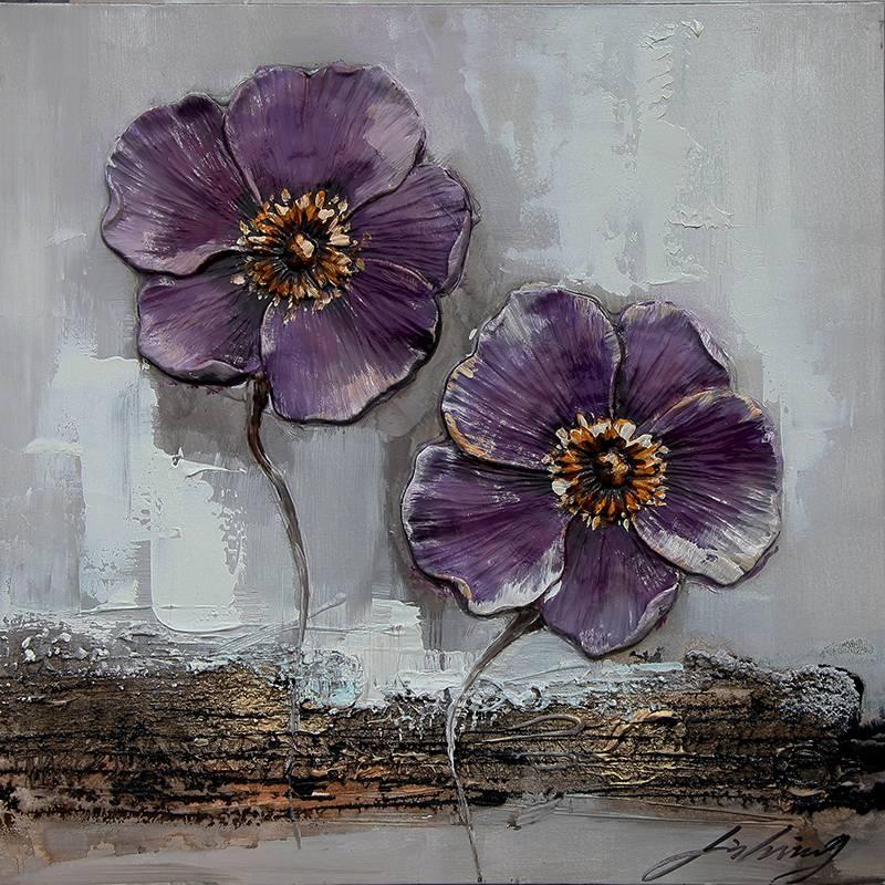 Geliefde 3D schilderij canvas 60x60cm Paarse bloemen - Eliassen.nl  #MY17