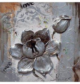 3D-Malerei Leinwand 80x80cm Blumen-Silber