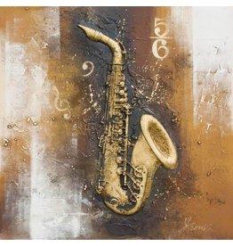 3D schilderij canvas 80x80cm Saxofoon