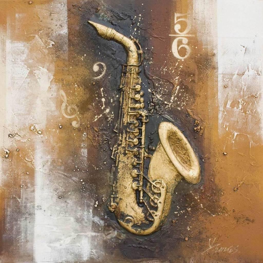 3d Painting Canvas 80x80cm Saxophone Eliassen Home
