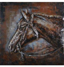 Painting 3D Iron 80x80cm Horse Head
