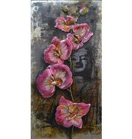 Metaal schilderij 3D 60x120cm Bloemen