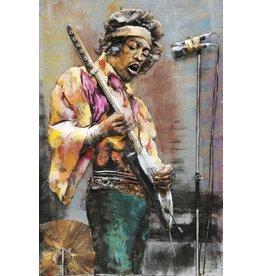 Schilderij 3d metaal 80x120cm Jimi Hendrix