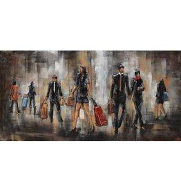 Schilderij 3d metaal 60x120cm People