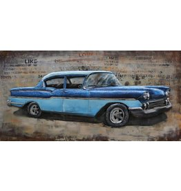 Painting metal 3d 60x120cm Blue car