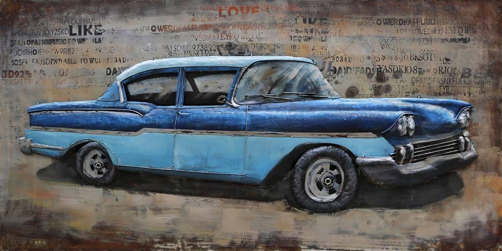 Schilderij metaal 3d 60x120cm Blauwe auto