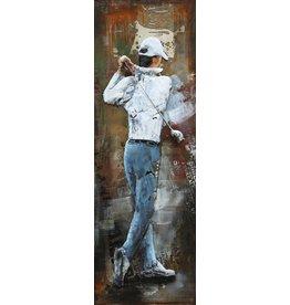 Schilderij metaal 3d 40x120cm Golf Swing