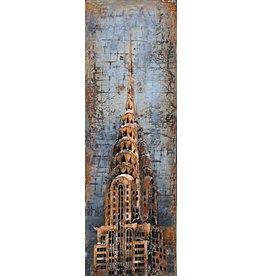 Schilderij 3d metaal 50x150cm Chrysler Tower