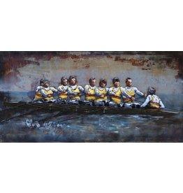 Metalen 3d schilderij 140x70cm K8 roeiers