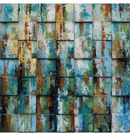 Olie op canvas schilderij 100x100cm Blokken