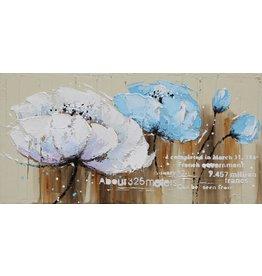 Öl auf Leinwand Malerei 120x60cm Blau / Weiß