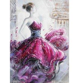 Canvas schilderij 80x120cm Dame Rood