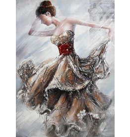 Canvas schilderij 80x120cm Dame Goud